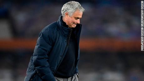 Mourinho looks dejected following his side's game against Everton.