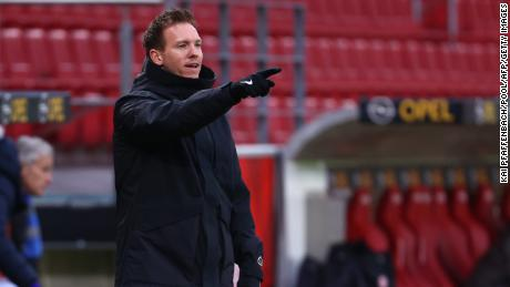 Leipzig's German headcoach Julian Nagelsmann reacts during the German first division Bundesliga football match between 1 FSV Mainz 05 and RB Leipzig in Mainz, western Germany, on January 23, 2021.