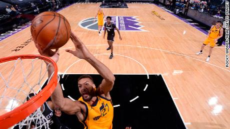 Rudy Gobert of the Utah Jazz shoots during the game against the Sacramento Kings.