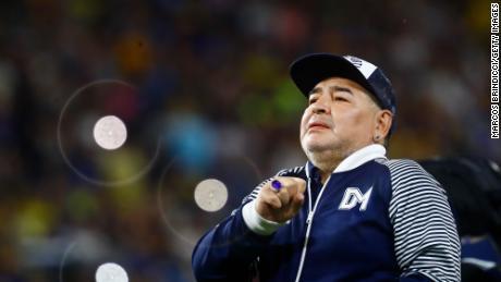 Diego Armando Maradona, at the time head coach of Gimnasia y Esgrima La Plata, greets fans prior to a match against Boca Juniors at the Alberto J. Armando Stadium on March 7, 2020 in Buenos Aires.