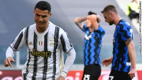Cristiano Ronaldo celebrates after scoring against Inter Milan.
