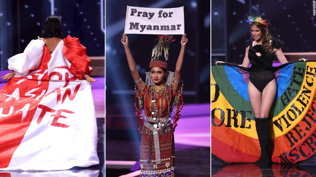 Myanmar's Miss Universe contestant leads political protests alongside Singapore, Uruguay