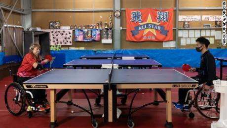 Bessho practices with her coach, Shoki Kihara, at the All Star table tennis gym in Hyogo, Japan.