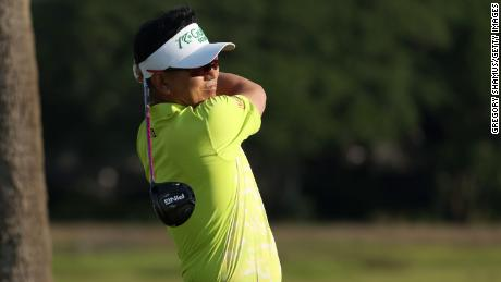 Yang plays his shot from the third tee during the second round of the 2021 PGA Championship.