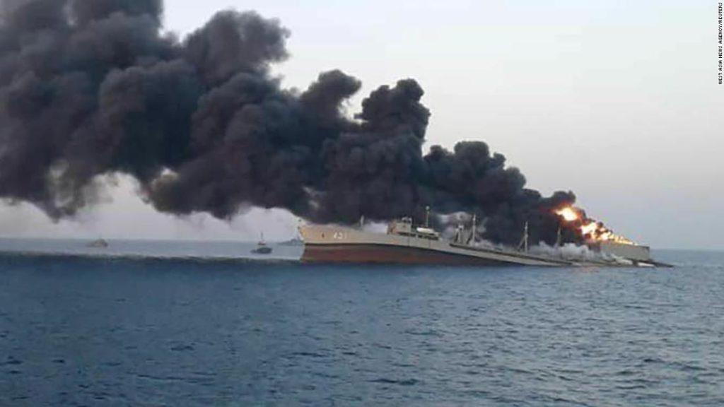Iran navy ship, the 'Khark,' sinks after fire on board