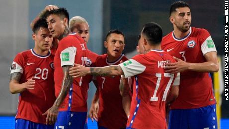 Chile players celebrate Alexis Sanchez's equalizer.
