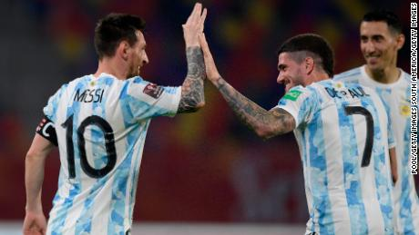 Leo Messi celebrates after scoring the opening goal against Chile.