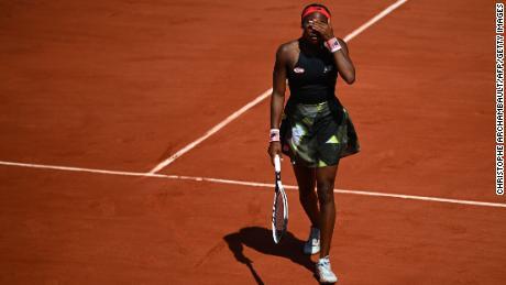 Gauff reacts during her women's singles quarterfinal match against Krejcikova.