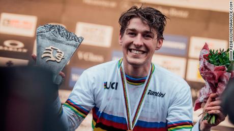 Wilson celebrates his world downhill title last October.