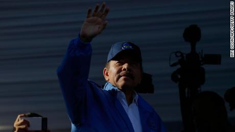 Nicaraguan President Daniel Ortega waves to supporters during a rally in Managua on August 22, 2018.