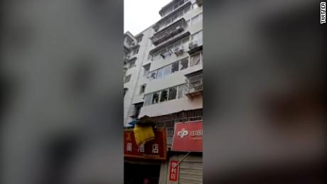 Windows of nearby buildings were shattered by the explosion in Shiyan city, Hubei province.