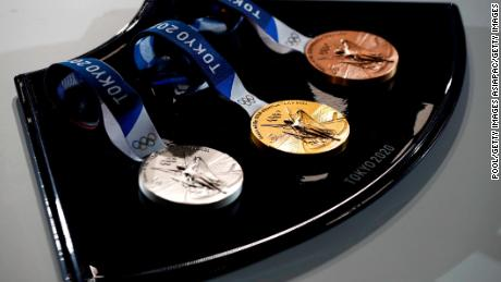 A medal tray that will be used during the victory ceremonies at the Tokyo 2020 Olympic Games is displayed during an unveiling event for the victory ceremonies' items including podium, music, costume and the medal tray for the Olympic and Paralympic games at the Ariake Arena on the day marking the 50 days to go to the Tokyo Olympic Games opening ceremony on June 3, 2021 in Tokyo, Japan.