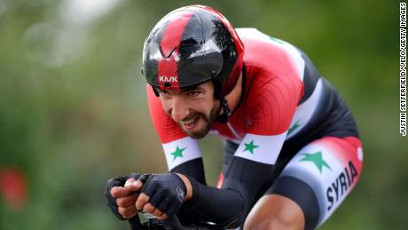 Ahmad Badreddin Wais competing at the 92nd UCI Road World Championships in 2019.