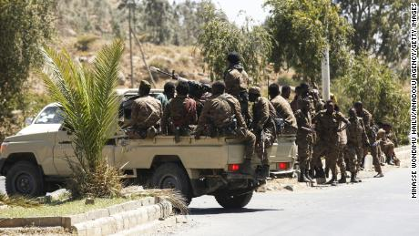 Ethiopian army units patrolling the streets of Mekelle back in March.