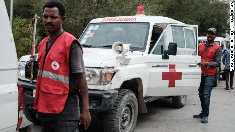 Red Cross ambulances waited on stand-by after being denied authorisation to travel to the village of Togoga.