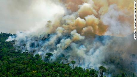 A wildfire in the Amazon rainforest reserve in August 2020.