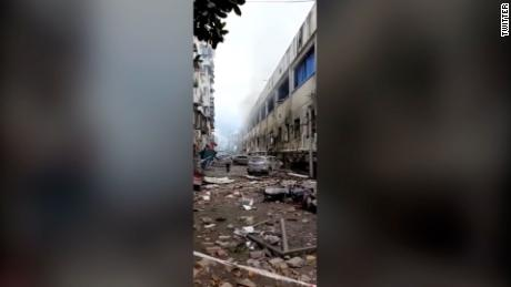 The aftermath of the explosion in Shiyan city, Hubei province.