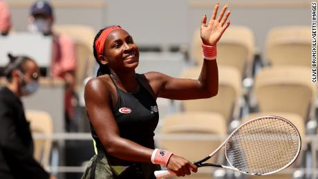 Gauff celebrates victory in her  ladies singles fourth round match against Ons Jabeur.