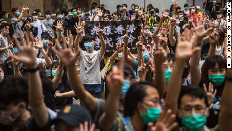 Crowds protest against the national security law in Hong Kong on July 1, 2020.