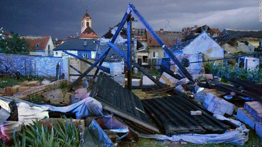 Rare tornado sweeps through villages in Europe