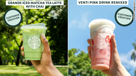 Images provided by Starbucks show how the beverages appear on social media to those participating in the test.
