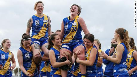 Emily Fox (upper left) plays Australian rules football for the Williamstown Football Club in Melbourne.