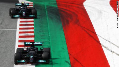 Hamilton leads Mercedes teammate  Valtteri Bottas during the Austrian Grand Prix, but the Finn ended the race in second, with the Briton in fourth.