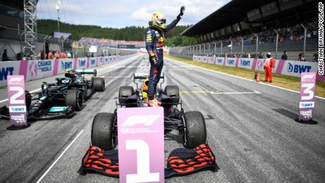 Verstappen is jubilant after winning the Austrian Grand Prix.