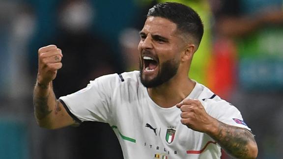 Lorenzo Insigne celebrates after scoring Italy's second.