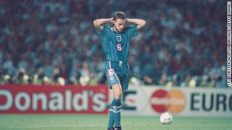 Gareth Southgate reacts after missing his penalty during the 1996 penalty shoot out.
