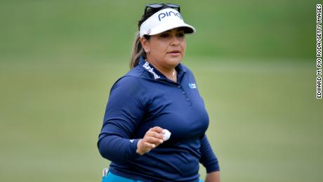 Salas reacts to her putt on the ninth green during the first round.