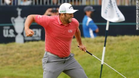 Rahm celebrates his birdie on the 18th during the final round of the US Open.