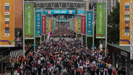 Fans leave Wembley Stadium after England's 2-0 win against Germany.