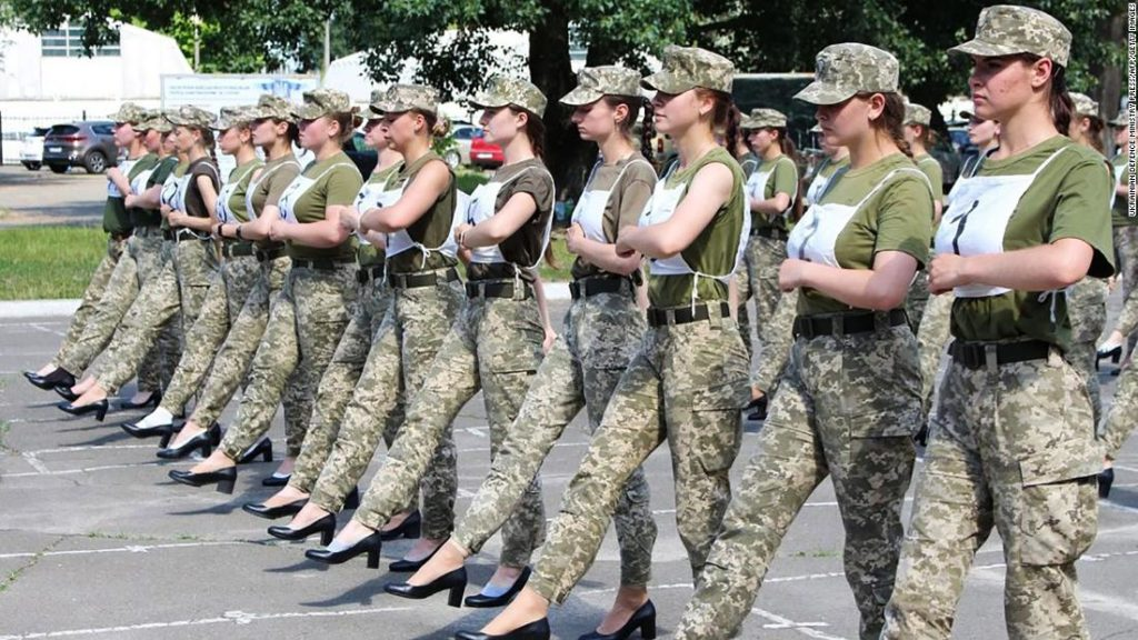 Ukrainian army's decision to make female soldiers march in high heels sparks backlash