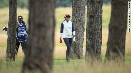 Oboh walks to her second shot on the second hole during the first round of the Aberdeen Standard Investments Ladies Scottish Open.