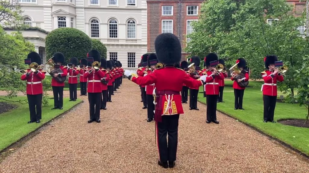 Coldstream Guards play 'Three Lions' on Prince Charles' lawn ahead of England vs Denmark game