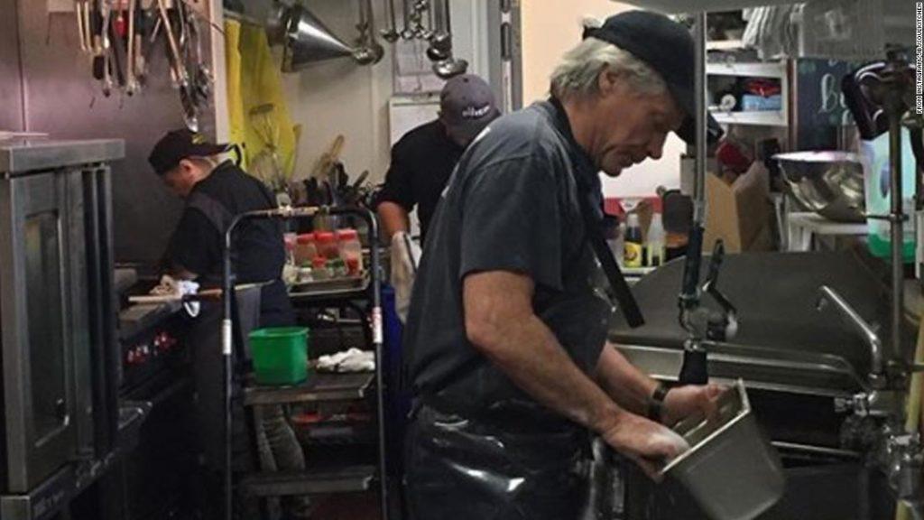 From rock superstar to all-star dishwasher, Jon Bon Jovi is keeping his community fed