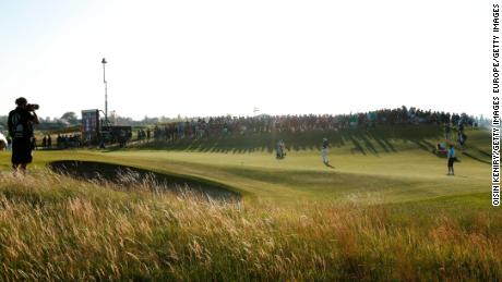 Louis Oosthuizen plays an approach shot on the 16th hole during day two of The Open at Royal St George's.
