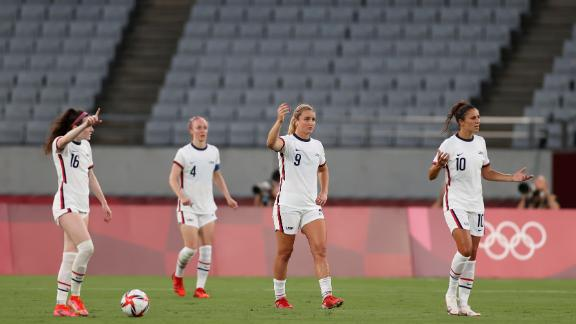 The US players look bemused after conceding the second.