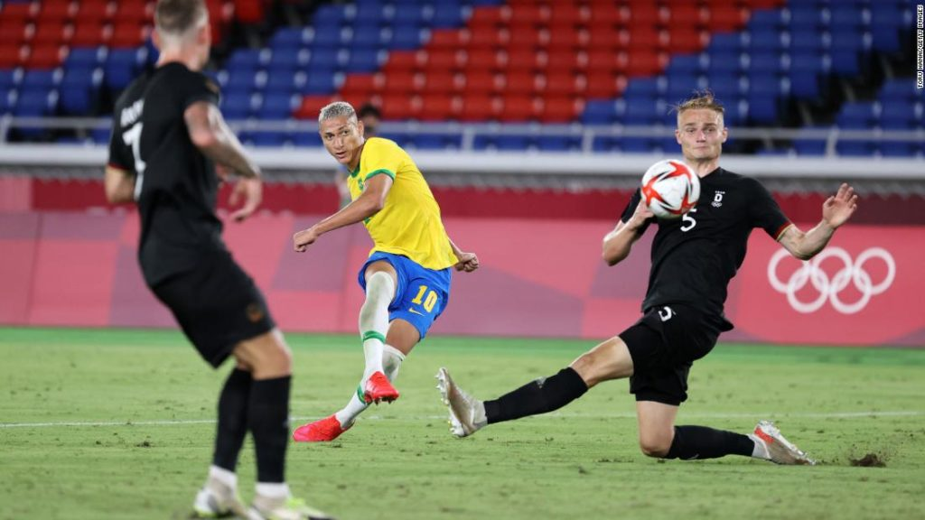 Defending Olympic champion Brazil defeats Germany in rematch of 2016 men's football final