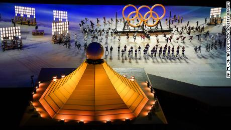 Performers are seen during the Opening Ceremony of the Tokyo Olympics.