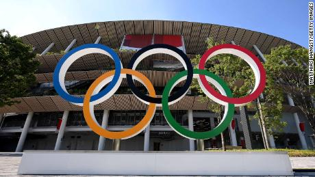 The Olympic rings outside of the stadium prior to the Opening Ceremony of the Tokyo 2020 Olympic Games.
