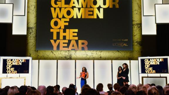 Biles speaks onstage during Glamour's Women of the Year event in 2016.