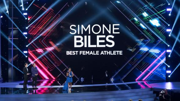 Biles speaks after receiving the ESPY Award for best female athlete in 2017.