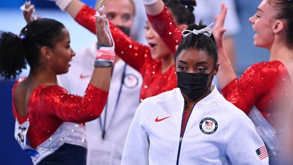 Biles wears her warm-up gear after she was pulled from the team all-around competition at the Tokyo Olympics on July 27. She