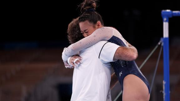 Lee celebrates after her performance on the uneven bars. Lee had the best score on that apparatus.