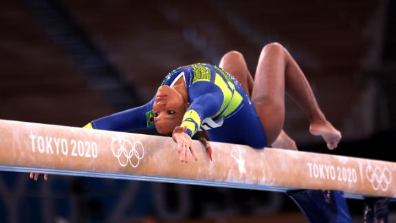 Andrade, seen competing on balance beam during the all-around final, secured an historic medal for Brazil.