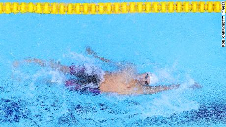 Rylov competes in the men's 200m backstroke final.