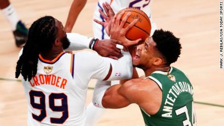 Antetokounmpo battles Phoenix Suns forward Jae Crowder during Game 3 of the NBA Finals.