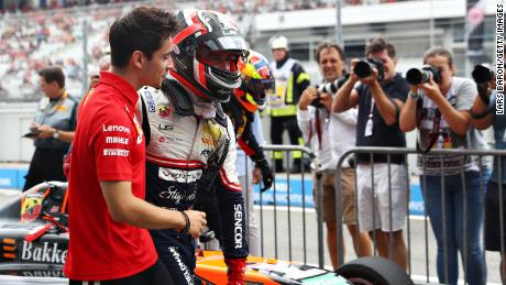 Charles Leclerc celebrates after his brother, Arthur Leclerc, won the F4 race before the F1 Grand Prix of Germany at Hockenheimring on July 28, 2019 in Hockenheim, Germany.